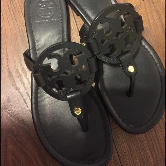 8215647d3482 Matte black Tory Burch Miller sandals. M 5b9734849fe486d61b2a9b8b